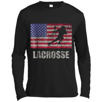 Lacrosse American Flag  USA Flag Fan Vintage Retro Long Sleeve Moisture Absorbing Shirt