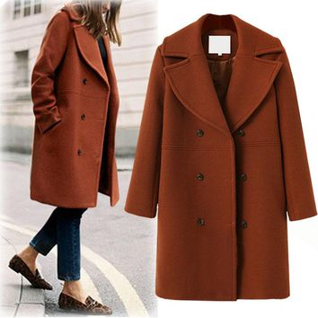 Plus Size Women's Fashion Wool Coat Windbreaker [191193579546]