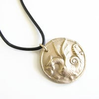 As seen on The Originals, Dragon Necklace, Unisex, Bronze Dragon, golden necklace, Gift for him