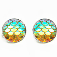 Dragon Skin Scales Iridescent Yellow Stud Earrings / Stainless steel hypoallergenic