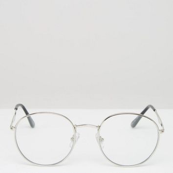 Jeepers Peepers Round Clear Lens Glasses in Silver at asos.com