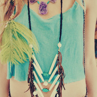 ON SALE BOHO Soul Leather Fringe Bohemian Tribal Breast Plate Bone Turquoise Crystal Quartz Freshwater Pearl Earthy Necklace