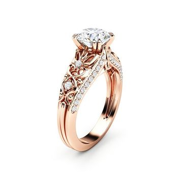Unique Moissanite Engagement Ring 14K Rose Gold Ring Promise Ring Art Deco Engagement Ring