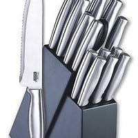 Chef Block Wood Knife Kitchen Knives Stainless Steel 15-piece Set New Free Ship
