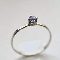 Tanzanite Ring, Sterling Silver Ring, Handforged Gemstone Ring, 3mm Tanzanite