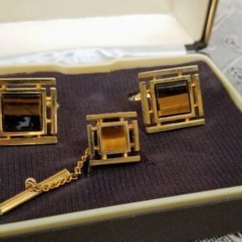 Vintage Dante Tiger Eye Cuff Links Tie Tack Set