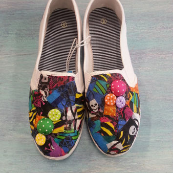 Funky Animal Print Decorated Womens Canvas Flats/Canvas Shoes (Slip On Vans Style) with Neon Buttons and Fun Fabric Swatches