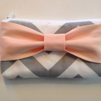 Back to School , Pencil Case , Cosmetic Bag , Travel Pouch , Grey & White Chevron with Peach Bow, Flower Girl Clutches