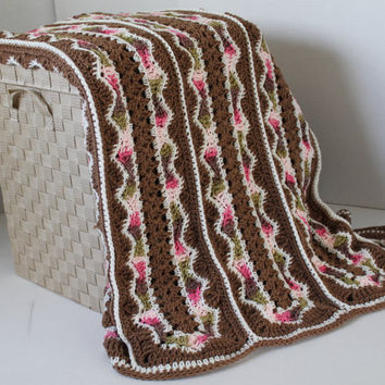 Afghan- Queen Size Crochet Blanket - Brown and Pink Camo