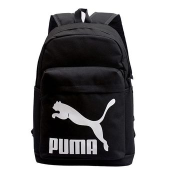 PUMA New fashion white print couple canvas backpack bag Black