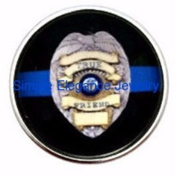 Blue Line Police Badge Snap 20mm for Snap Jewelry (3064)