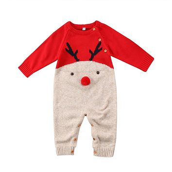 Boys Girls Christmas Baby Wool Deer Romper Knitted Warm Jumpsuit Outfit Long Sleeve Romper Baby Clothing