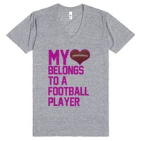 my heart belongs to a football player-Unisex Athletic Grey T-Shirt