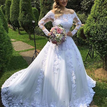 Popular Long Sleeve Lace A Line Wedding Dress 2016
