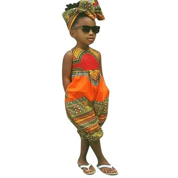 Bright Colour African Dashiki Jumpsuit For Kids