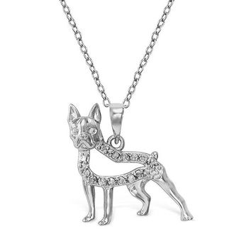 Memorable lovely dog pendant approx. 1.50 carats white gold 14K sparkling