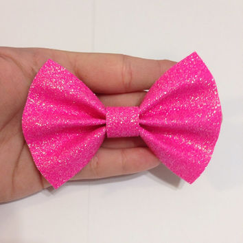 Neon Pink Canvas Hair Bow on Alligator Clip - 4 Inches Wide - AFFORDABOW Line - Affordable and High Quality Hair Bows