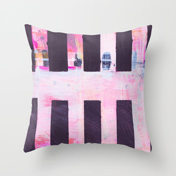 Black Stripes on Hot Pink Abstract Throw Pillow by Karin Lauria