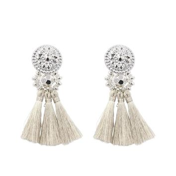 New Fashion Silver/Gold Tassel Earrings For Women Handmade Bohemia Vintage Beads Earring Ethnic Fringe Drop Earring Jewelry