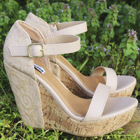 Standing Tall Lace Embroidered Nude Cork Wedges