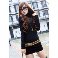 Turtle Neck Openwork Pure Color Long Sleeve Knitting+Lace Women's Casual Knitwear Without Belt