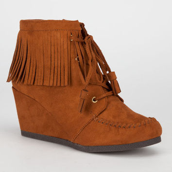 City Classified Wig Womens Wedge Booties Hazelnut  In Sizes