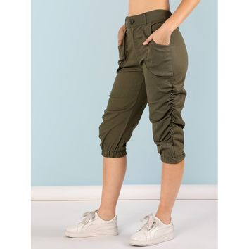 Army Green Ruched Capri Pants