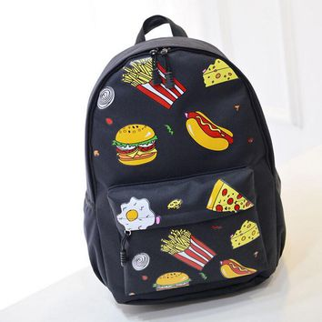 Autumn And Winter New Fashion Food Fries Hamburger Schoolbags Pattern Printing Casual Bags Backpacks For Teenage Girls APB21