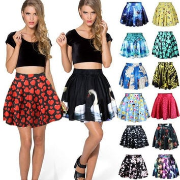 Women Short High Waist Skirt 3D Print Floral Flared Pleated Mini Skirt