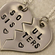 Hand Stamped Soul Sisters Necklaces - BFF Split Heart Jewelry, Best Bitches Jewelry - Best Friend Necklaces - Stainless Steel