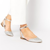 New Look Luck Glitter Flat Ankle Strap Shoes