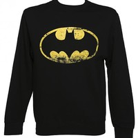 Men's Black Distressed Batman Logo DC Comics Sweater : TruffleShuffle.com