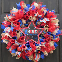 Patriotic America Deco Mesh Wreath with Light Up Stars