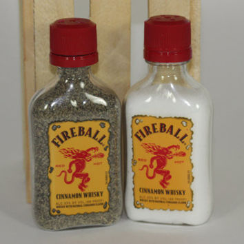Salt and Pepper Shaker from Upcycled Fireball Mini Liquor Bottles