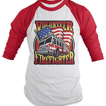 Shirts By Sarah Men's Volunteer Firefighter Shirt 3/4 Sleeve Raglan Fire Truck Shirts
