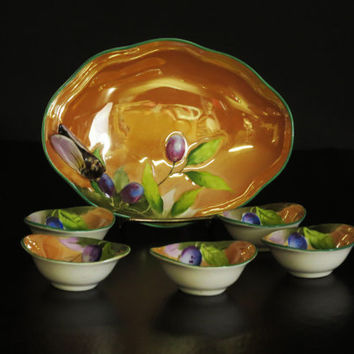 Japanese Bug Bowl and Salts, Vintage Noritake Lusterware Bowl and Matching Salt Bowls, Candy Dish, Salt Cellars, Cicada and Plums