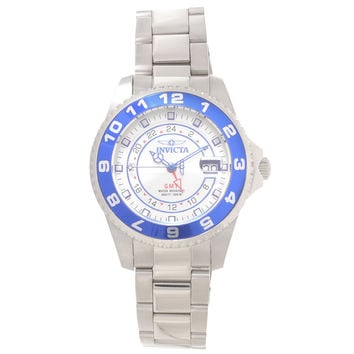 Invicta 18240 Men's Pro Diver Grand Ocean Blue Bezel Silver Dial Steel Bracelet GMT Dive Watch