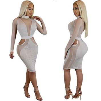 Women Sexy Sheer Mesh Sparkly Dress Turtleneck Long Sleeve Hollow Out Glitter Nightout Evening Slim Bandage Bodycon Dresses Midi