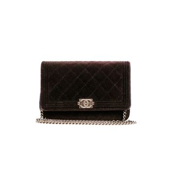 Chanel Pre-Owned - Chanel Black Velvet Wallet On Chain Woc Bag | Bluefly.Com