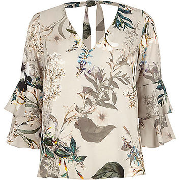 Petite grey floral double bell sleeve top