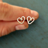 Sterling Silver Heart Earrings Tiny Stud Earrings Bridesmaid Gifts Shower gifts