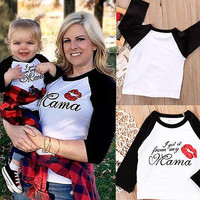 HOT Mom and Baby Clothes Tops Mama Long Tee and Baby Kiss Bodysuit Casual T-Shirt Set