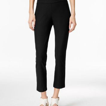 DCCK8BW EILEEN FISHER WASHABLE STRETCH CREPE CROPPED PANTS