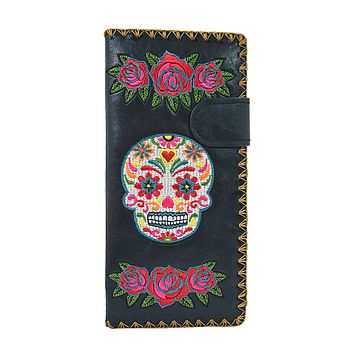 Rose & Sugar Skull Day of the Dead Embroidered Large Wallet