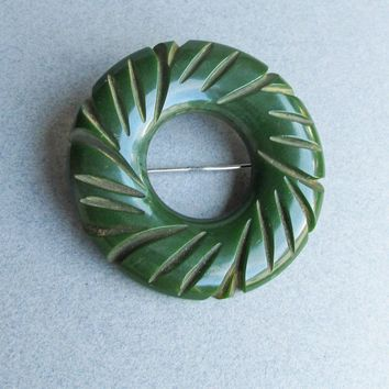 BIG Vintage Dark Green Carved Genuine Bakelite Circle Pin