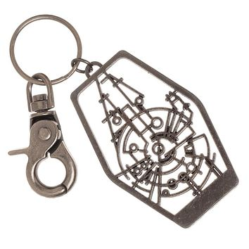 Han Solo Millennium Falcon Frame Keychain with Lobster Clasp, Cutout Outline Design, Disney Star Wars