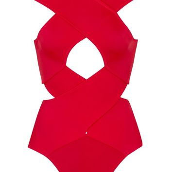 Chiara Cut Out One Piece Swimsuit - Red