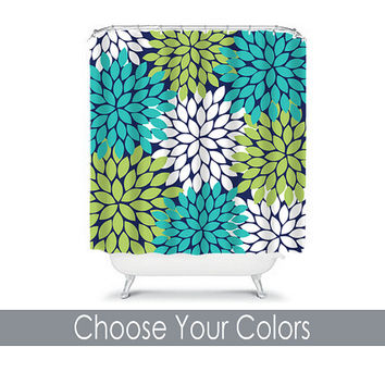 Shower Curtain CUSTOM You Choose Colors Navy Blue Turquoise Lime Green Flower Burst Dahlia Pattern Bathroom