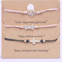 A'GACI Bow/Cross/Heart 3 pc Friendship Bracelet on a Card - JEWELRY