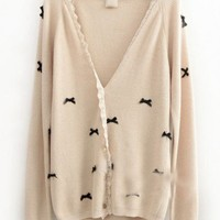 Wool Beige Long Sleeve Lace V-Neck Single-Breasted Bowknot Decoration Sweater  style 819my017-Beige